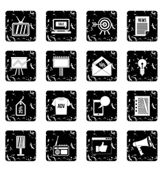 Advertisement set icons grunge style vector image