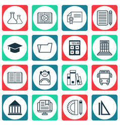 Set of 16 education icons includes diploma vector