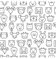 Different line style icons seamless pattern zodiac vector