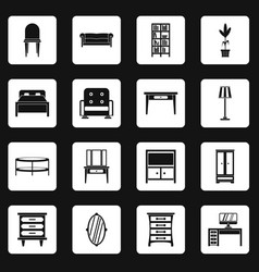 Furniture icons set squares vector