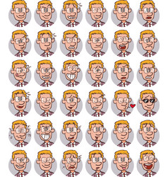 Set of young blond businessman with glasses emojis vector