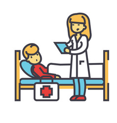 nurse and patient doctor clinic hospital vector image