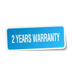 2 years warranty blue square sticker vector