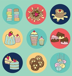 Bakery doodle colorful in circle vector