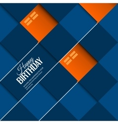 Abstract birthday card orange balloons on blue vector image