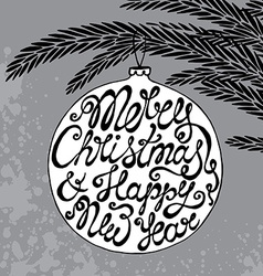 Christmas greeting card with cute hand drawn text vector