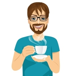 Young man drinking hot coffee or tea vector