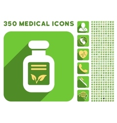 Natural drugs icon and medical longshadow icon set vector