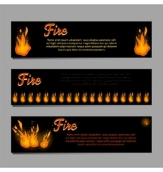 Banners set with bright fire flame vector