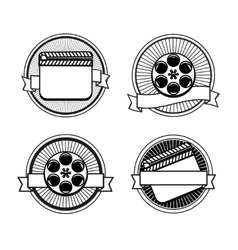Black and white movie stamps icons vector image