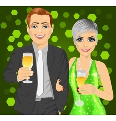 Business man and elegant woman with wine glasses vector
