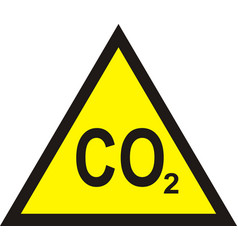 Co2 yellow triangular warning sign carbon vector