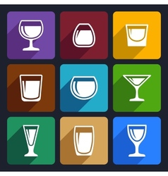 Drink glasses icons set 16 vector