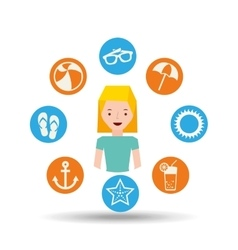 girl blonde character summer vacation icons set vector image