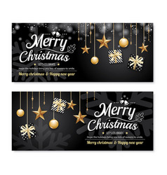 greeting card merry christmas party poster banner vector image vector image