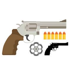 Gun revolver icon flat vector