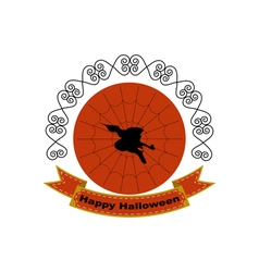 Halloween logo sign with silhouette of witch head vector image vector image