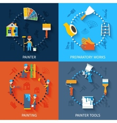 Painter 4 icons composition flat vector