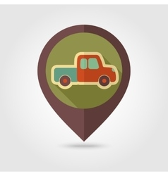 Pickup truck flat mapping pin icon vector image