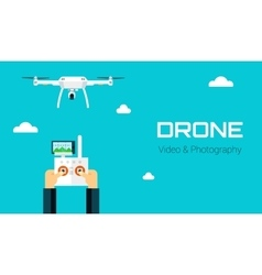 Remote aerial drone with a camera taking vector image