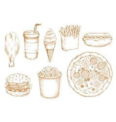 Retro stylized sketch of fast food lunch vector