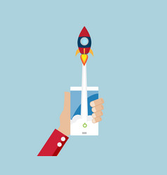 Rocket launch from mobile start up business vector