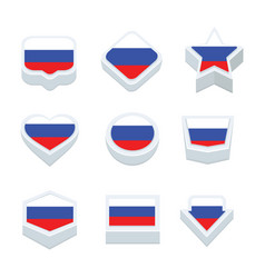 Russia flags icons and button set nine styles vector