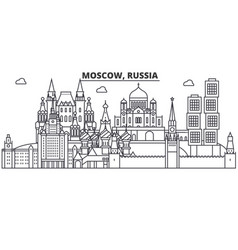 russia moscow architecture line skyline vector image