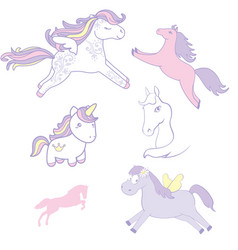 Set collection of cute horses vector