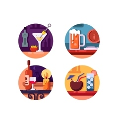 Set of alcoholic beverages vector image vector image