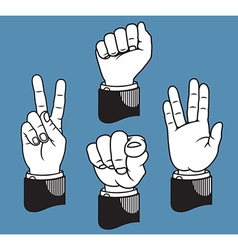 Set of four hand gestures based on printer pointer vector image vector image