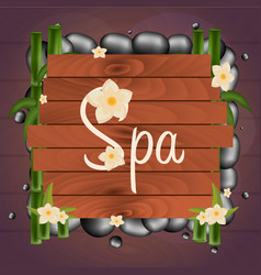 Spa salon banner with stones thai massage wooden vector