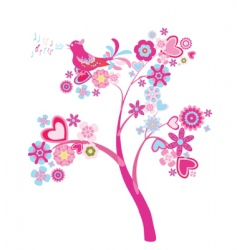 tree of flowers vector image vector image