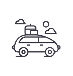 vehicle travel family car line icon sign vector image vector image