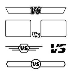 Versus symbol set vs letters and frames vector