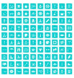 100 human health icons set grunge blue vector