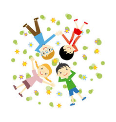 Happy family resting outdoors vector