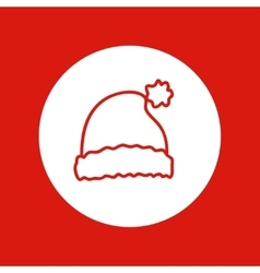 Hand drawn christmas icon red line isolated in vector