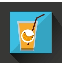 Fresh juice banana and cup glass straw design vector
