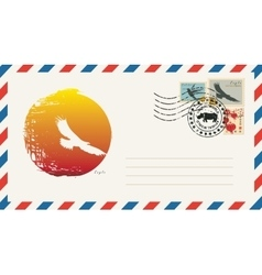Envelope with a postage stamp with eagle vector
