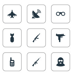 Set of 9 simple army icons can be found such vector
