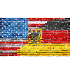 brick wall usa and germany flags vector image