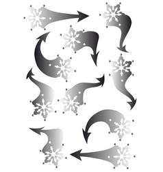Set of snowflakes arrow stickers vector