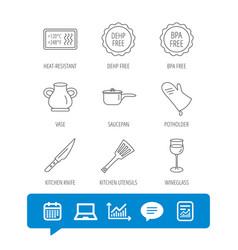 Saucepan potholder and wineglass icons vector