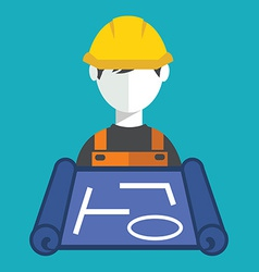 Contractor with blueprint vector