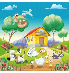 Home with animals vector