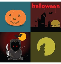 Cute devil red eyes in halloween night and design vector