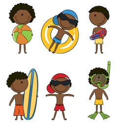 Cute happy african-american boys on the beach vector
