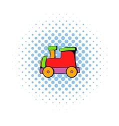 Children locomotive icon comics style vector