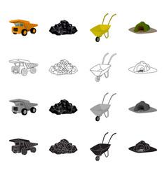 a rock a large dump truck a wheelbarrow an vector image